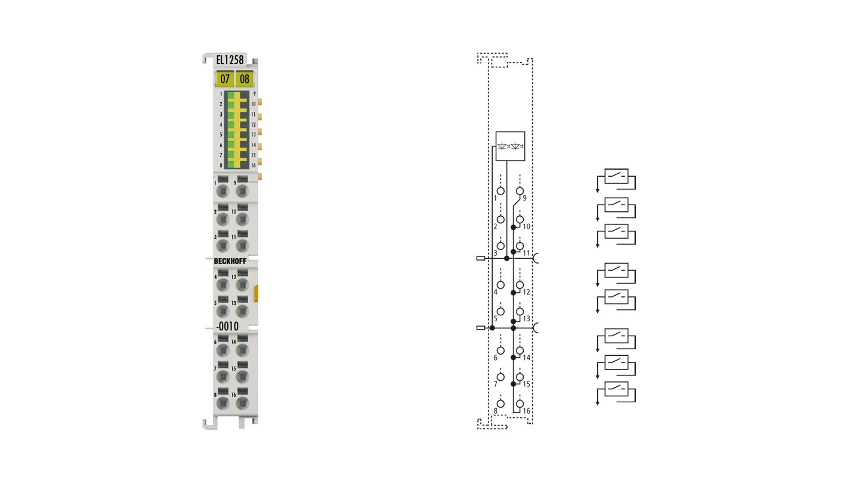 EL1258-0010 | EtherCAT-Klemme, 8-Kanal-Digital-Eingang, 24VDC, 1µs, masseschaltend, Multi-Timestamp