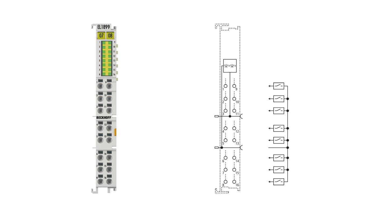 EL1899 | EtherCAT-Klemme, 16-Kanal-Digital-Eingang, 24VDC, 10µs, masseschaltend