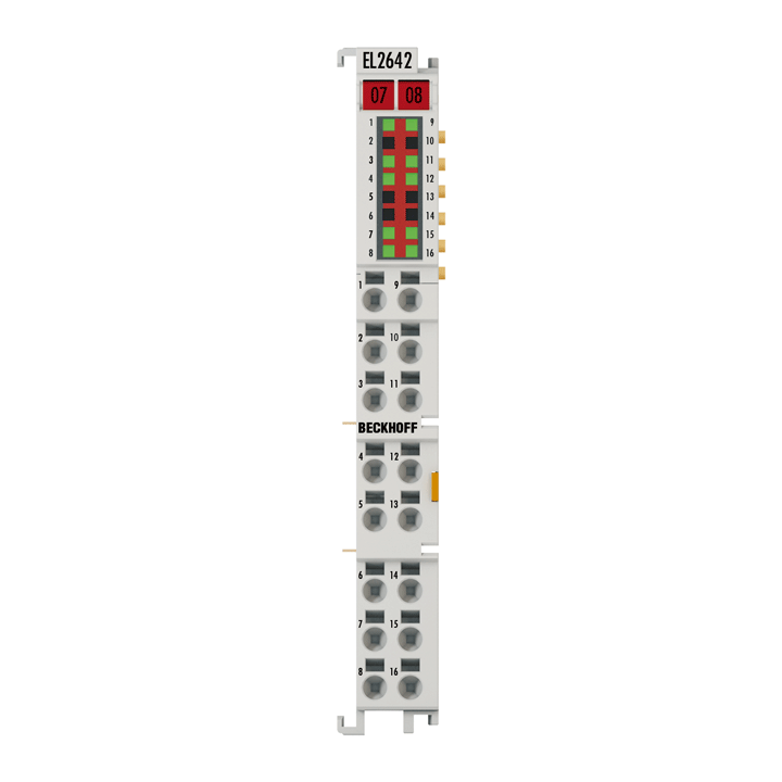 EL2642 | 2-channel reed output terminal, multiplexer, 48 VAC/DC, 0.5A (∑2A), potential-free, 1x4