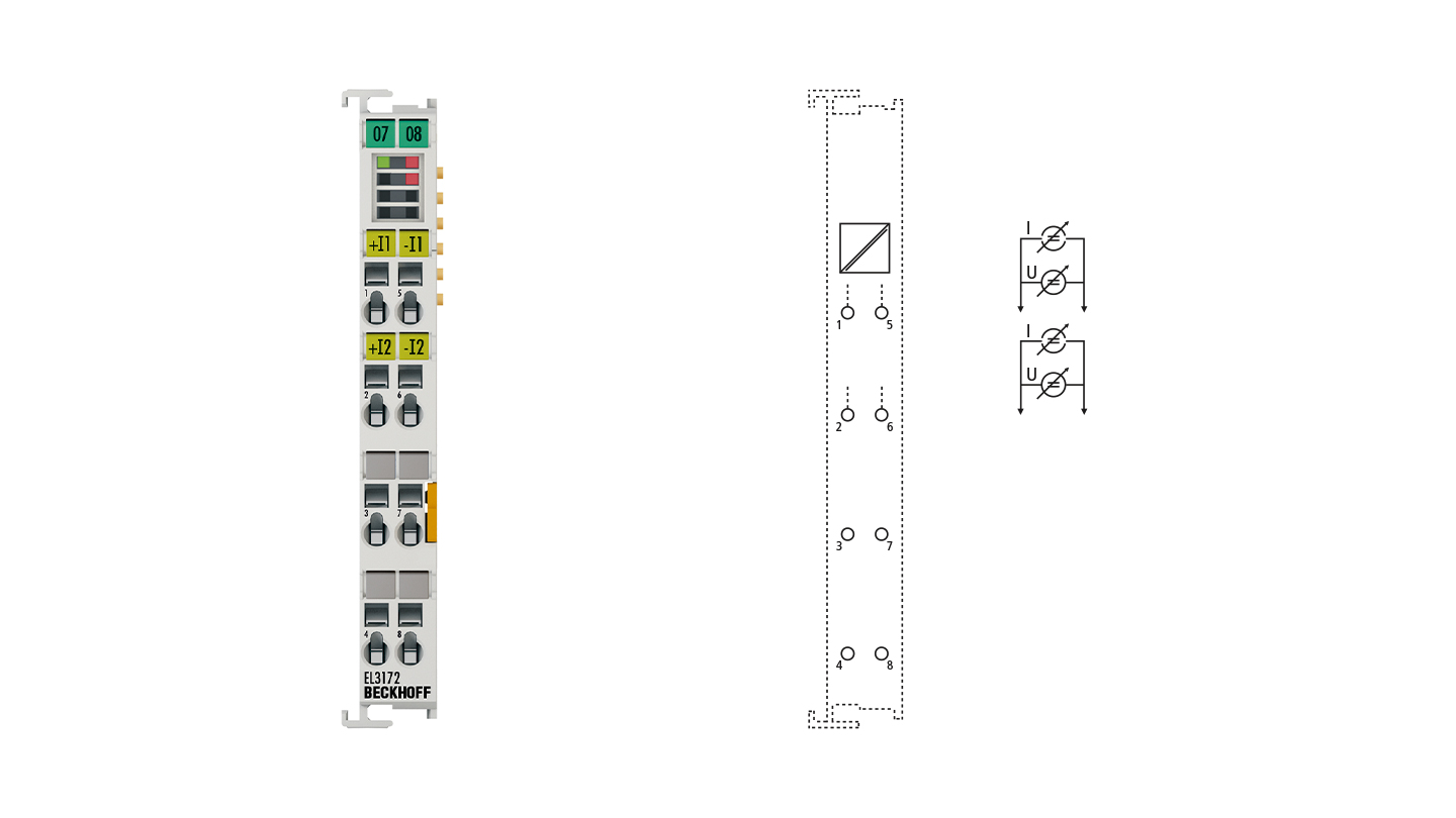 EL3172 | EtherCAT Terminal, 2-channel analog input, multi-function, ±10 V, ±20 mA, 16 bit