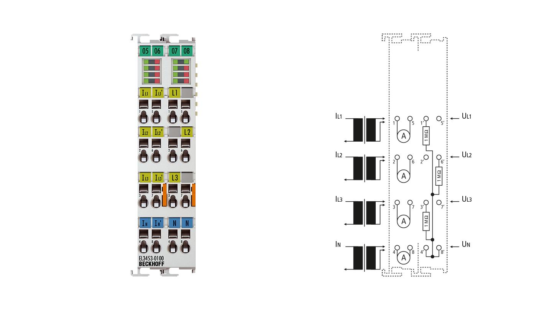 EL3453-0100 | EtherCAT-Klemme, 3-Kanal-Analog-Eingang, Leistungsmessung, 130V, 0,1/1/5AAC, 24Bit, galvanisch getrennt