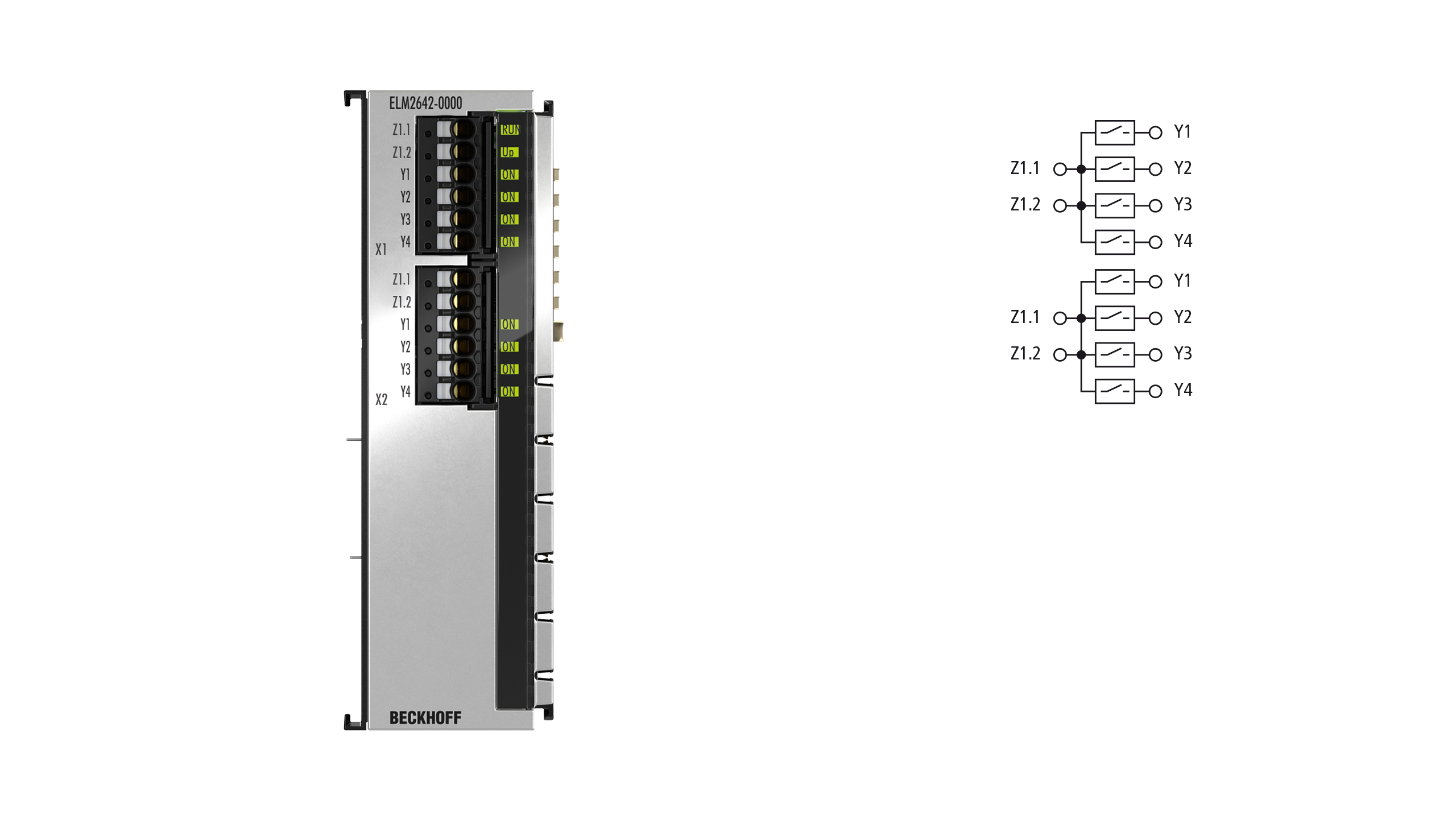 ELM2642-0000 | 2-channel multiplexer, 1 x 4 reed relays 48 V AC/DC, 0.5 A, potential-free make contacts