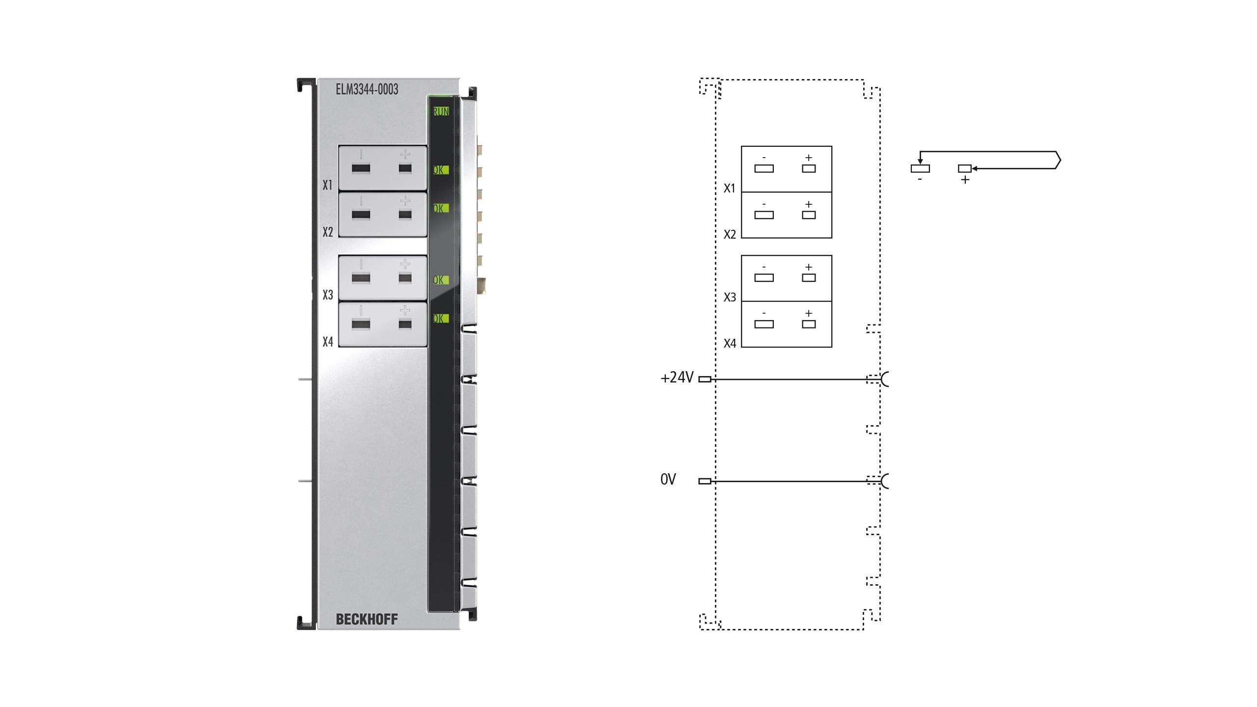 ELM3344-0003 | EtherCAT Terminal, 4-channel analog input, temperature, thermocouple, 24bit, Mini-TC universal, high-precision, 1kSps