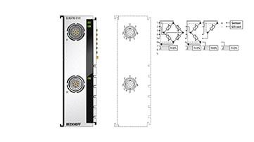 ELM3702-0101 | EtherCAT-Klemme, 2-Kanal-Analog-Eingang, Multifunktion, 24Bit, 10kSps, galvanisch getrennt, LEMO