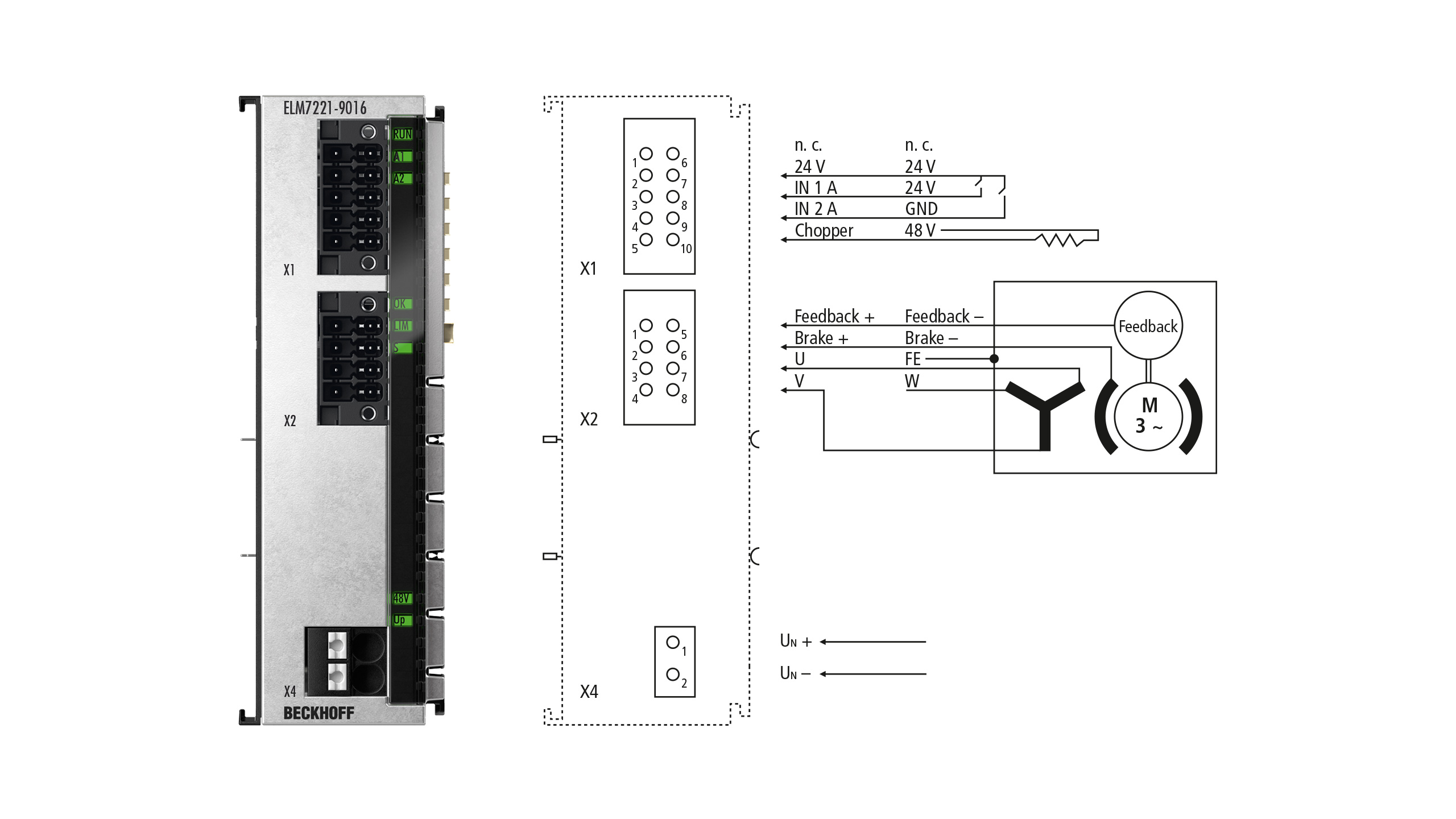 ELM7221-9016 | 1-channel servomotor terminal in metal housing, 48VDC, 8A(Irms), OCT, STO, TwinSAFE Logic