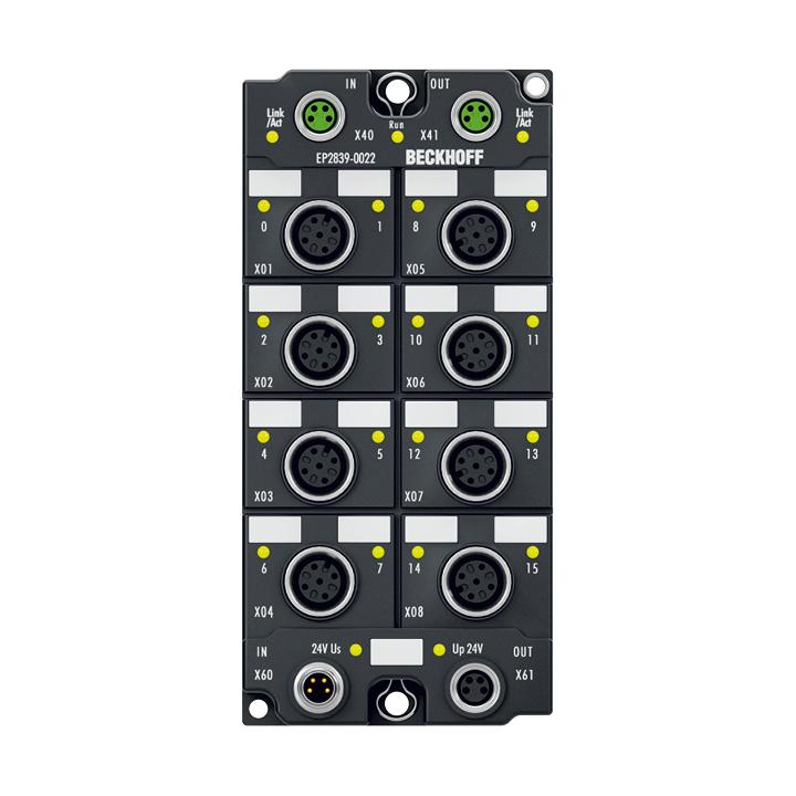 EP2839-0022 | EtherCAT Box, 16-channel digital output, 24VDC, 0.5A, M12, with diagnostics