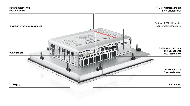 CP27xx-0020 | Lüfterloser Multitouch-Einbau-Panel-PC