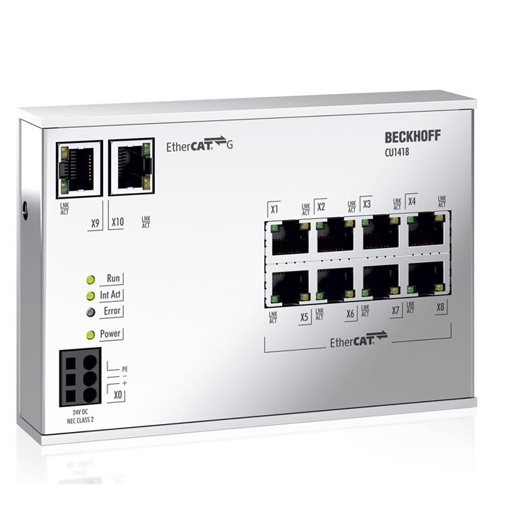 CU1418 | Infrastructure, 8-port branch controller, EtherCAT G, 24 V DC, RJ45
