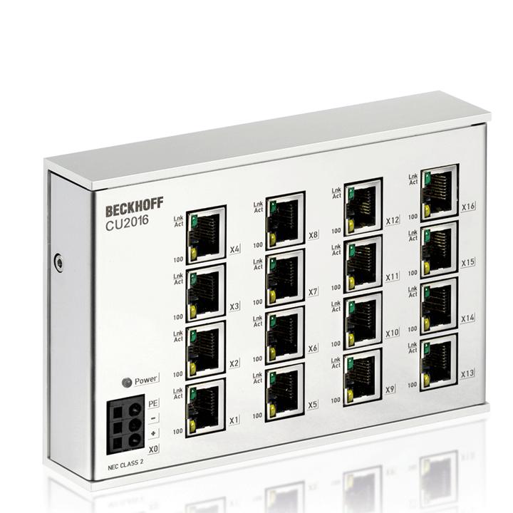 CU2016 | Infrastructure, 16-port switch, Ethernet, 100Mbit/s, 24VDC, RJ45
