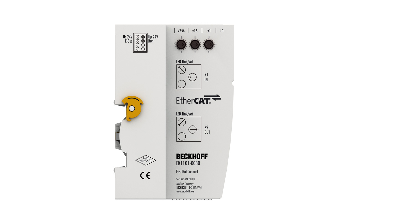 EK1101-0080 | EtherCAT-Koppler mit ID-Switch, Fast-Hot-Connect