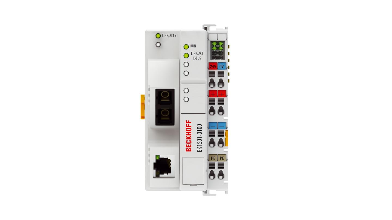 EK1501-0100 | EtherCAT-Koppler, Medienkonverter (Multimode-LWL, RJ45 OUT) mit ID-Switch
