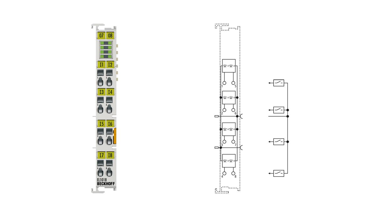 EL1018 | EtherCAT Terminal, 8-channel digital input, 24VDC, 10µs
