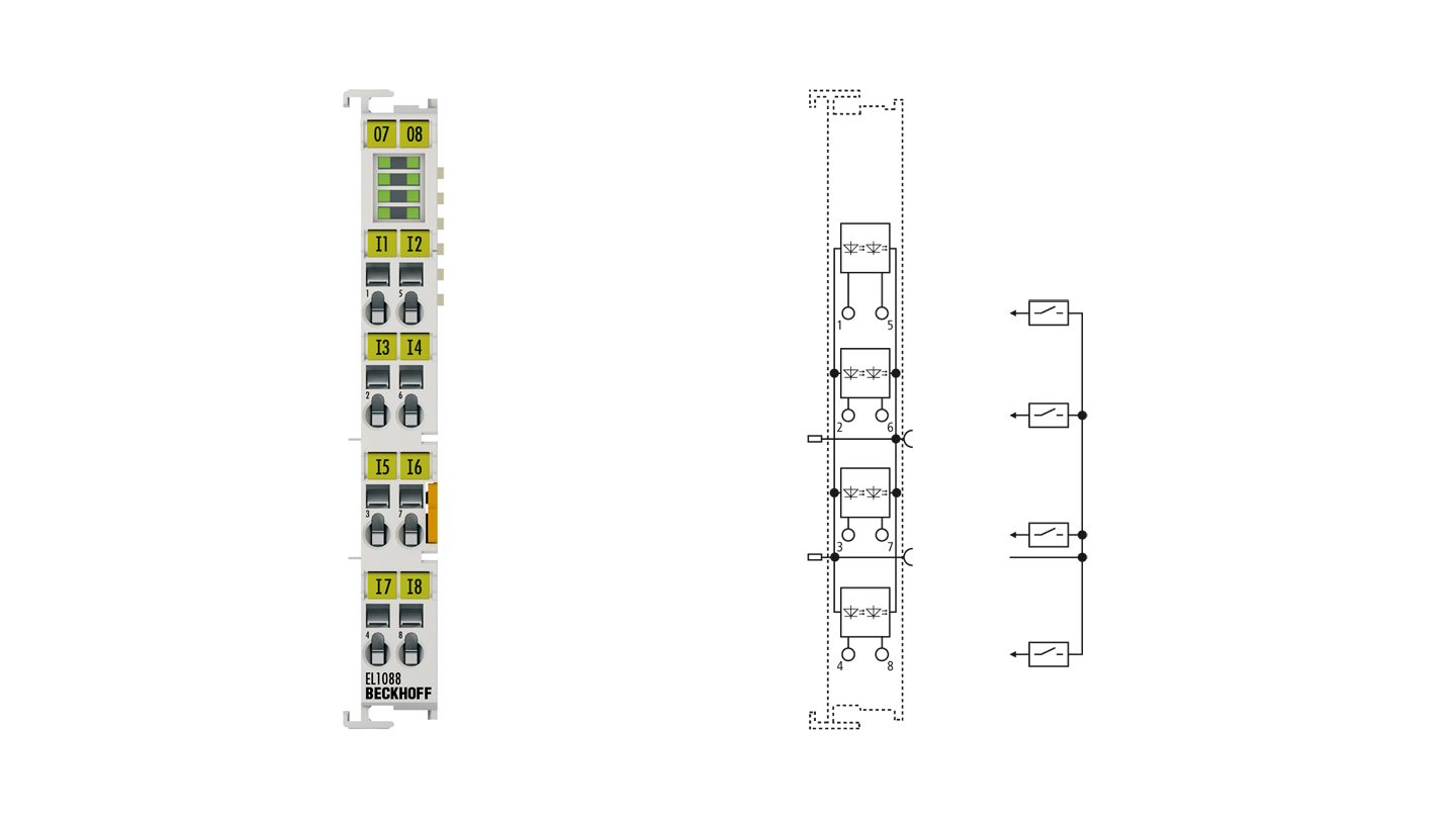 EL1088 | EtherCAT Terminal, 8-channel digital input, 24VDC, 3ms, ground switching