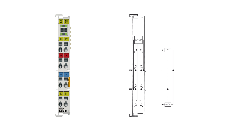 EL1104 | EtherCAT Terminal, 4-channel digital input, 24VDC, 3ms, 2-/3-wire connection
