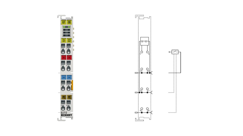 EL1712   EtherCAT Terminal, 2-channel digital input, 120VAC/DC, 10ms