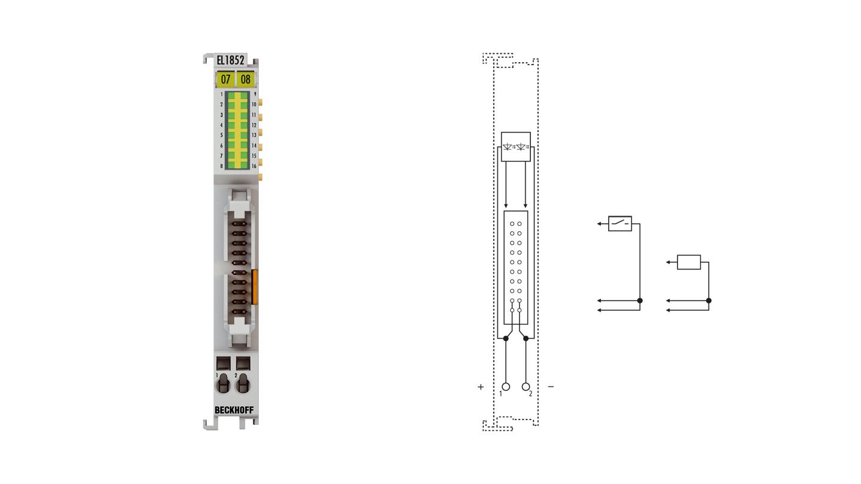 EL1852 | 8-Kanal-Digital-Eingang + 8‑Kanal-Digital-Ausgang 24VDC, Flachbandkabelanschluss