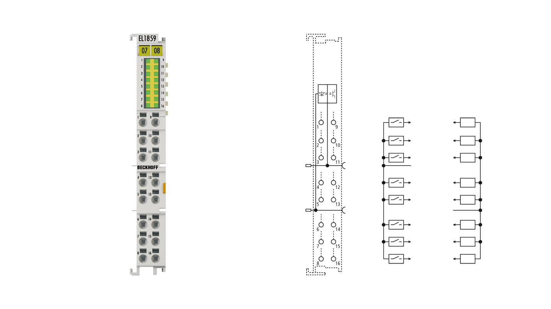 EL1859 | HD-EtherCAT-Klemme, 8-Kanal-Digital-Eingang + 8‑Kanal-Digital-Ausgang 24VDC