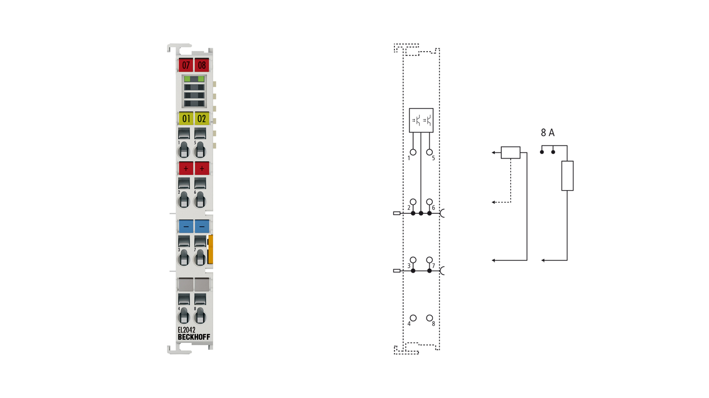EL2042 | 2-channel digital output terminal 24VDC, 2x4A/1x8A