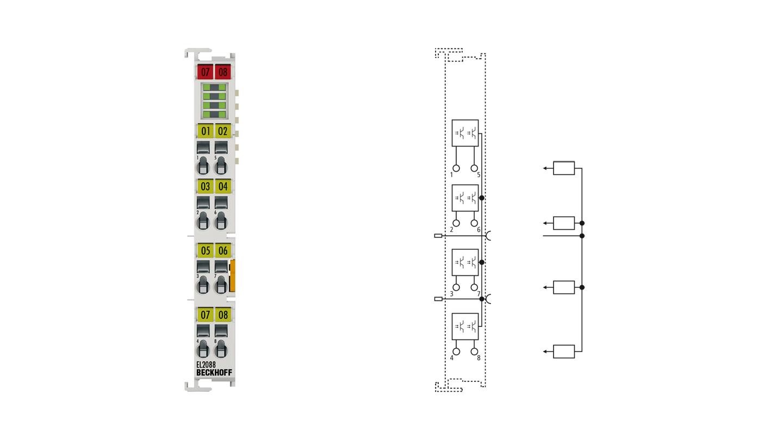 EL2088   8-Kanal-Digital-Ausgangsklemme 24VDC, masseschaltend