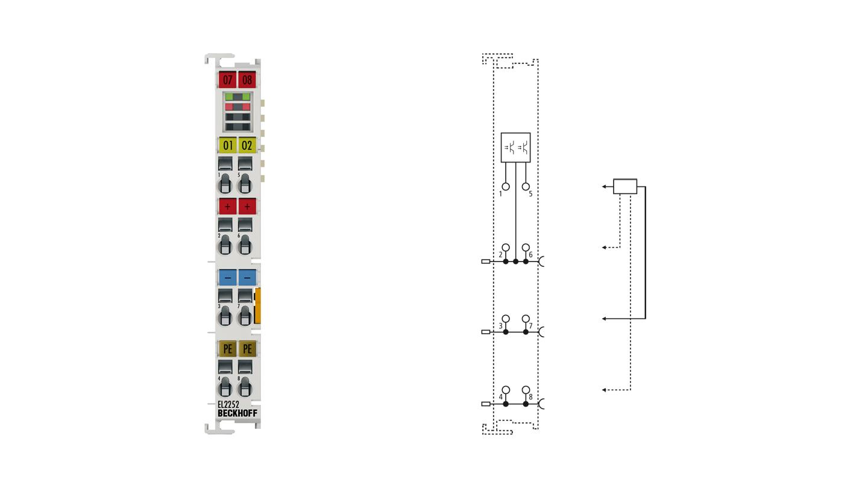EL2252 | EtherCAT Terminal, 2-channel digital output, 24VDC, 0.5A, timestamp