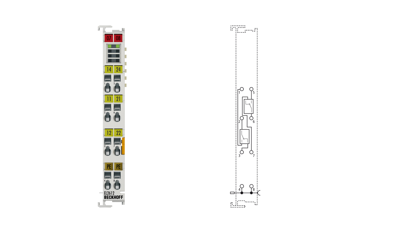 EL2612   EtherCAT Terminal, 2-channel relay output, 125VAC, 30VDC, 0.5AAC, 2ADC