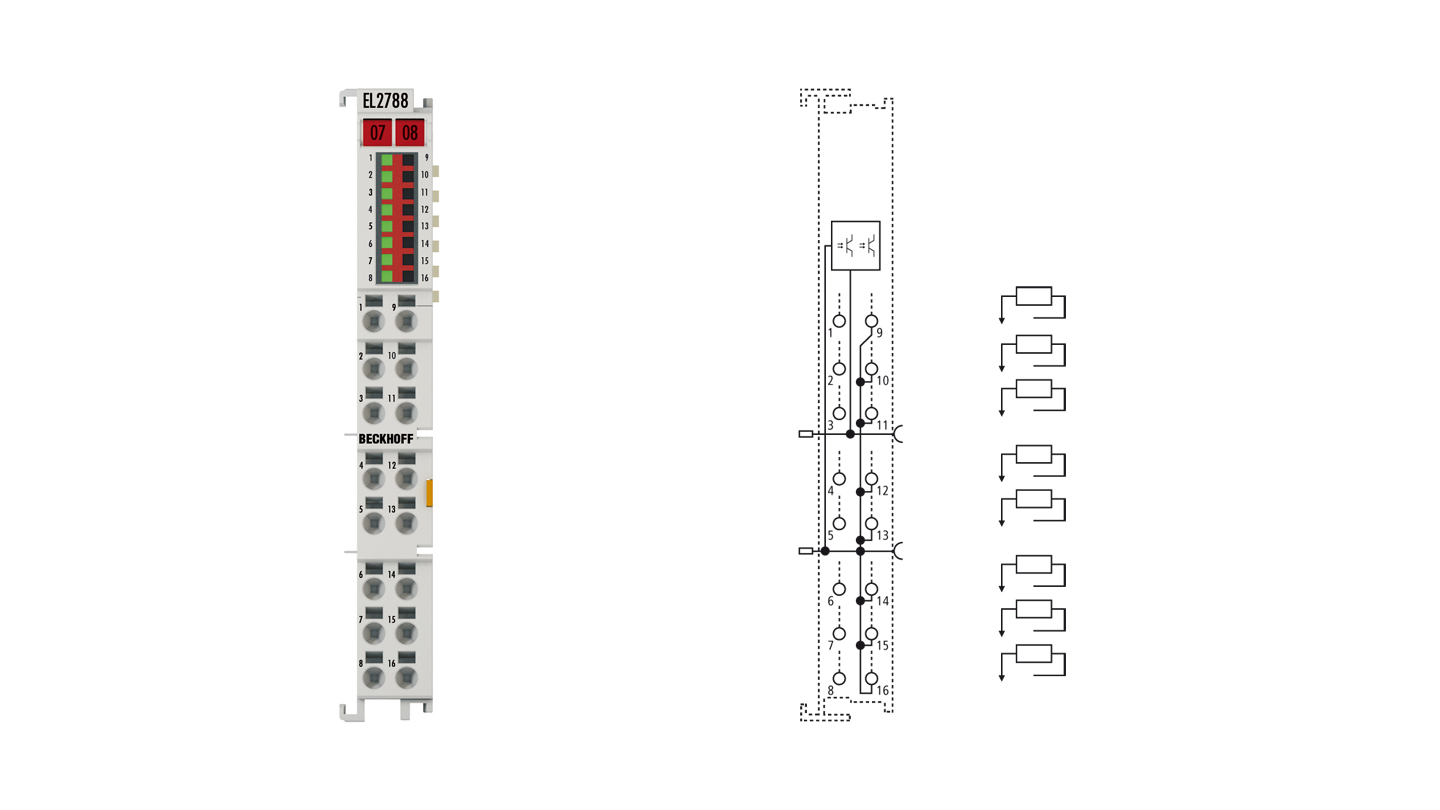 EL2788 | EtherCAT Terminal, 8-channel solid state relay output, 30VAC, 48VDC, 2A