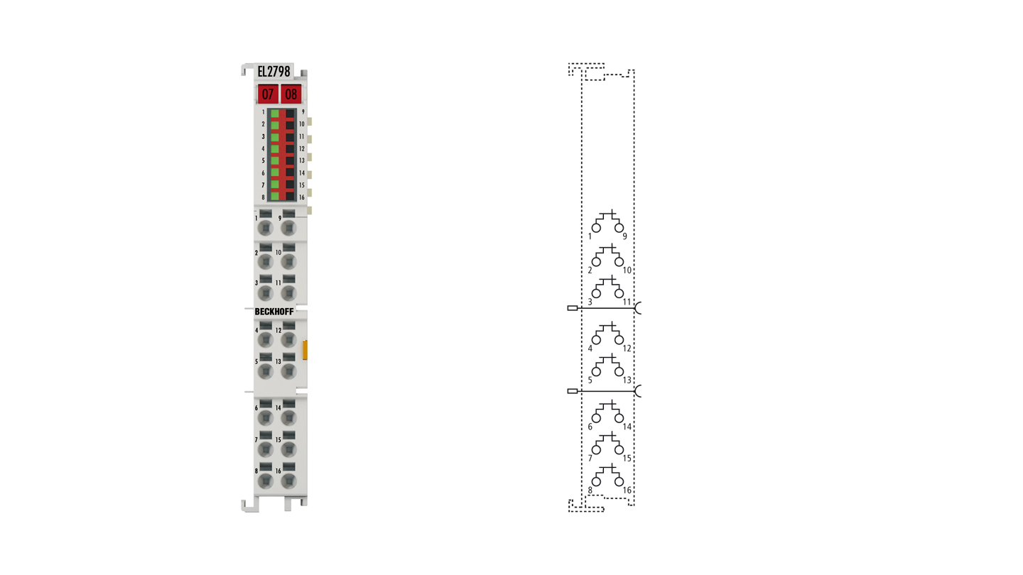 EL2798 | EtherCAT Terminal, 8-channel solid state relay output, 30VAC, 48VDC, 2A, potential-free