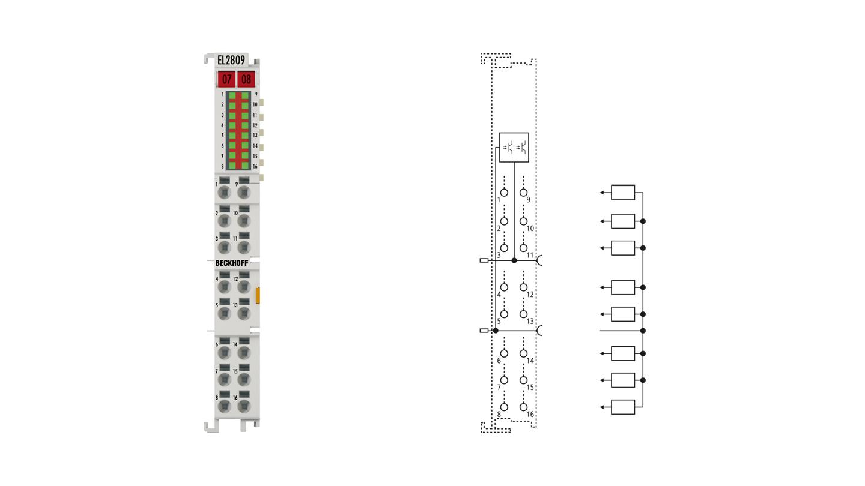 EL2809 | HD EtherCAT Terminal, 16-channel digital output 24VDC, 0.5A