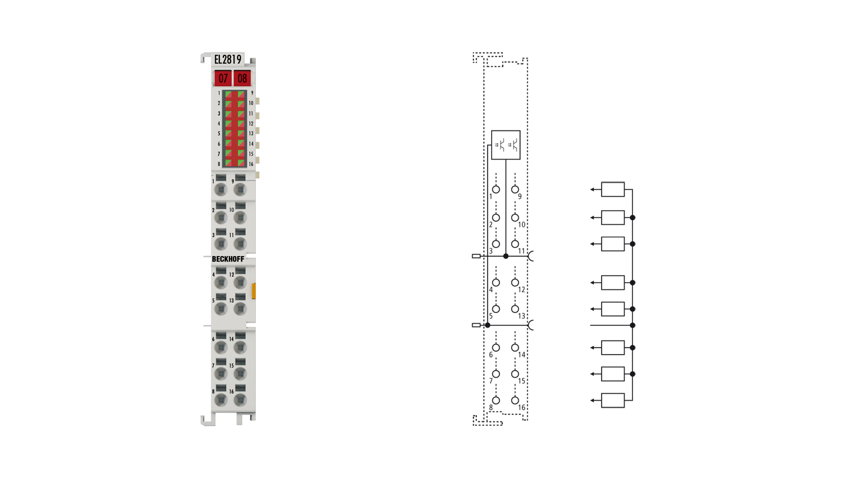 EL2819 | EtherCAT Terminal, 16-channel digital output, 24VDC, 0.5A, with diagnostics