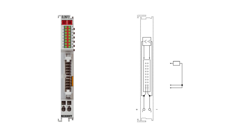 EL2872 | EtherCAT Terminal, 16-channel digital output, 24VDC, 0.5A, flat-ribbon cable