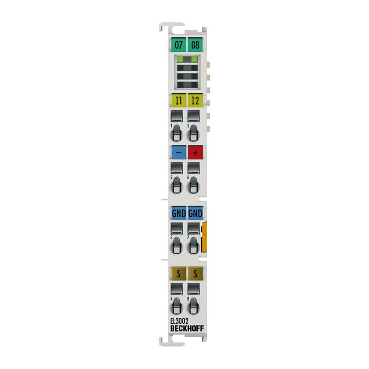 EL3002 | EtherCAT Terminal, 2-channel analog input, voltage, ±10V, 12bit, single-ended