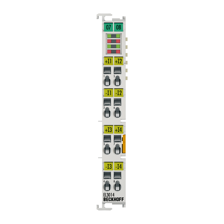 EL3014 | EtherCAT Terminal, 4-channel analog input, current, 0…20mA, 12bit, differential