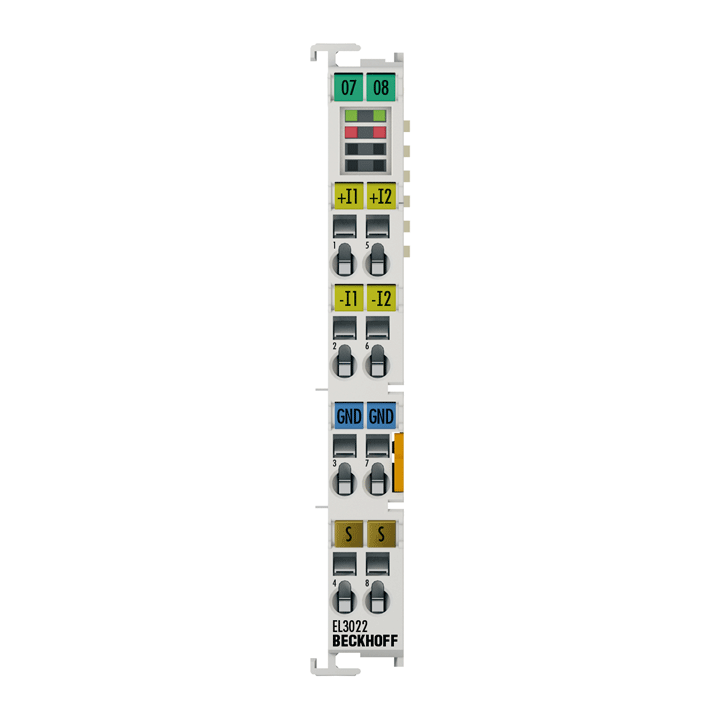 EL3022 | EtherCAT Terminal, 2-channel analog input, current, 4…20mA, 12bit, differential