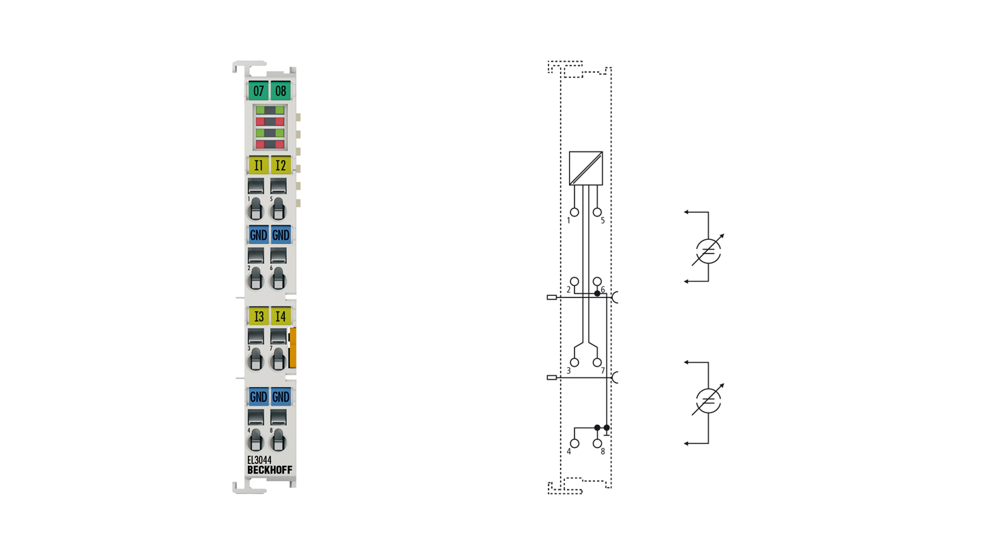 EL3044 | EtherCAT Terminal, 4-channel analog input, current, 0…20mA, 12bit, single-ended