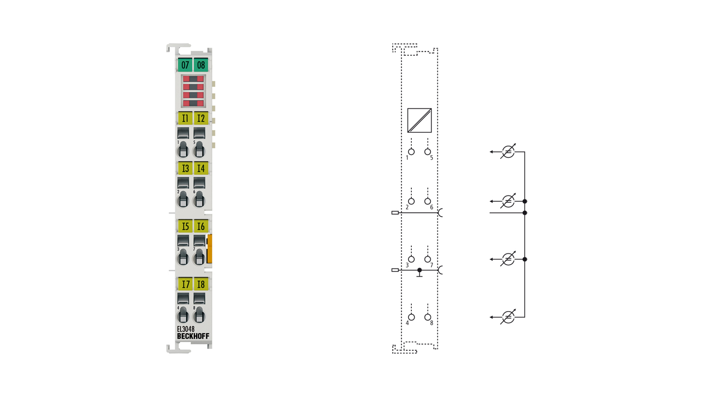 EL3048 | EtherCAT Terminal, 8-channel analog input, current, 0…20mA, 12bit, single-ended