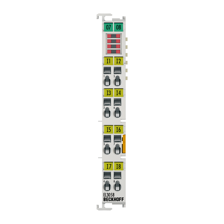 EL3058 | EtherCAT Terminal, 8-channel analog input, current, 4…20mA, 12bit, single-ended