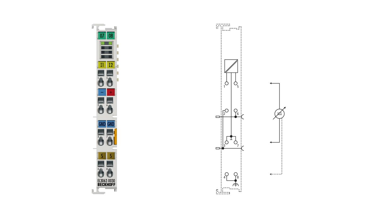 EL3062-0030 | 2-Kanal-Analog-Eingangsklemmen 0…30V, single-ended, 12Bit