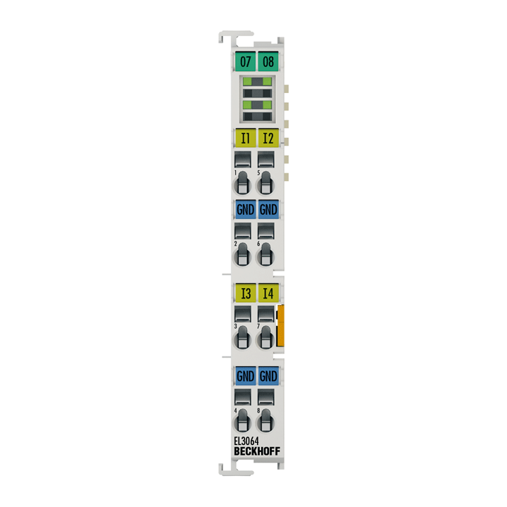 EL3064 | EtherCAT Terminal, 4-channel analog input, voltage, 0…10V, 12bit, single-ended