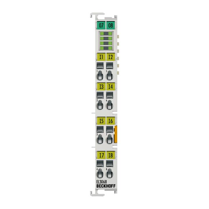 EL3068 | EtherCAT Terminal, 8-channel analog input, voltage, 0…10V, 12bit, single-ended