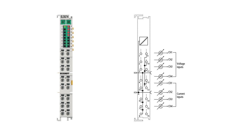 EL3074 | EtherCAT Terminal, 4-channel analog input, multi-function, ±10V, ±20mA, 12bit
