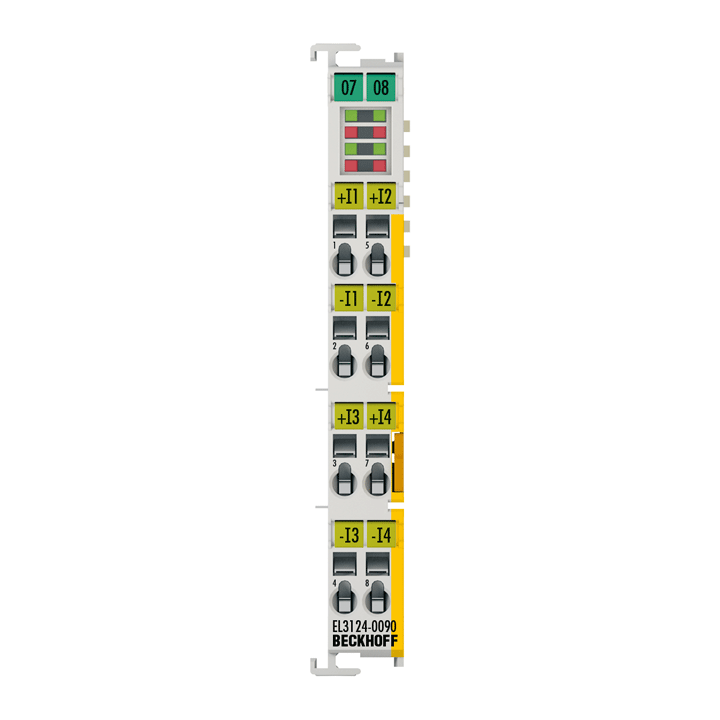 EL3124-0090 | EtherCAT Terminal, 4-channel analog input, current, 4…20mA, 16bit, differential, TwinSAFESC