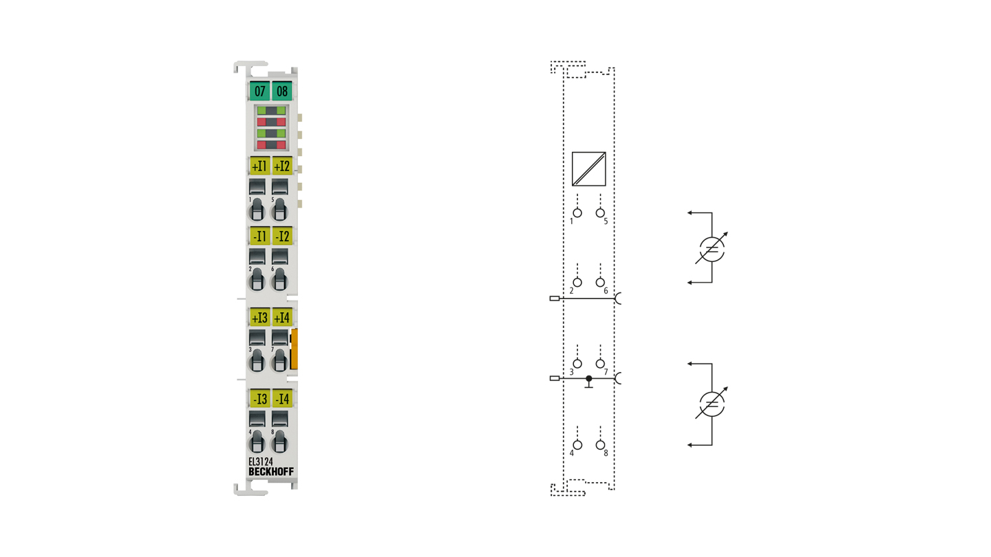 EL3124 | EtherCAT Terminal, 4-channel analog input, current, 4…20mA, 16bit, differential