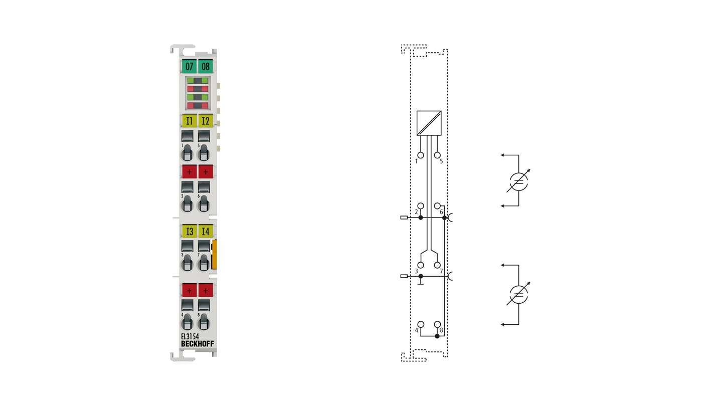 EL3154 | EtherCAT Terminal, 4-channel analog input, current, 4…20mA, 16bit, single-ended