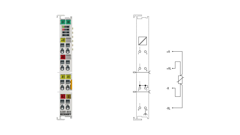 EL3201-0010 | 1-Kanal-Eingangsklemme Pt100 (RTD) für 4-Leiteranschluss, hochpräzise