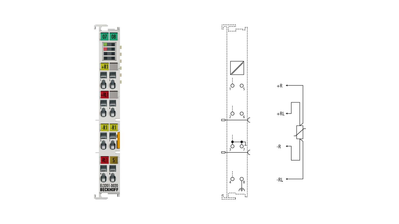 EL3201-0020 | 1-Kanal-Eingangsklemme Pt100 (RTD) für 4-Leiteranschluss, hochpräzise, mit Kalibrierzertifikat