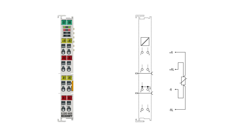 EL3202-0020   2-Kanal-Eingangsklemmen Pt100 (RTD) für 4-Leiteranschluss, hochpräzise, mit Kalibrierzertifikat