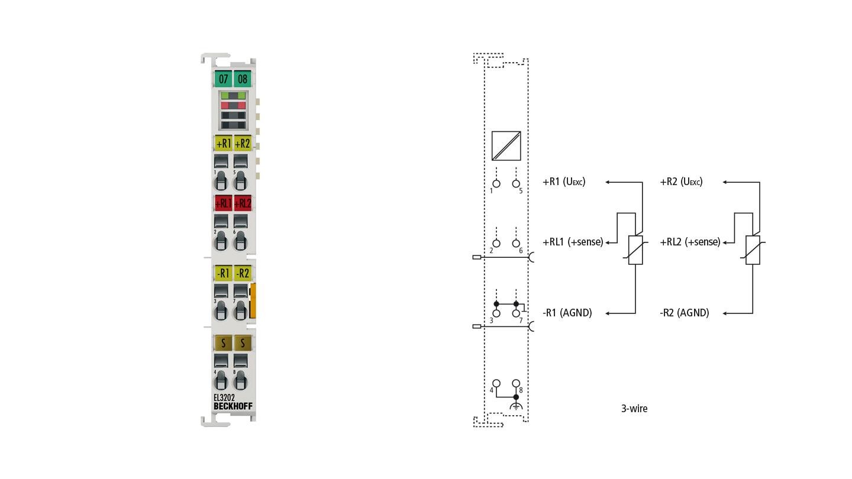 EL3202   2-Kanal-Eingangsklemme Pt100 (RTD) für 2- und 3-Leiteranschluss