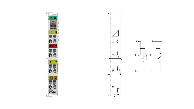 EL3202 | 2-Kanal-Eingangsklemme Pt100 (RTD) für 2- und 3-Leiteranschluss
