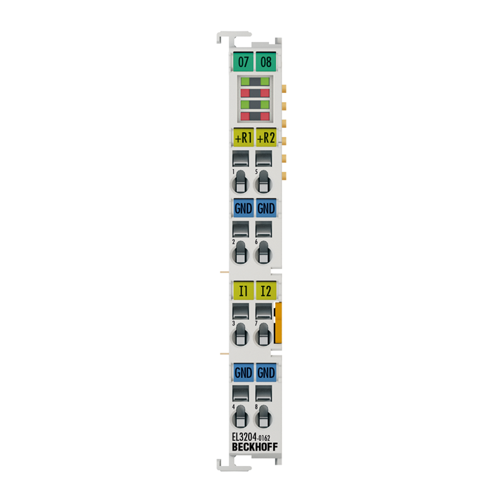 EL3204-0162 | 4-channel analog input terminal, 2 x PT100 (RTD) and 2 x -10…+10 V, 12 bit, single-ended