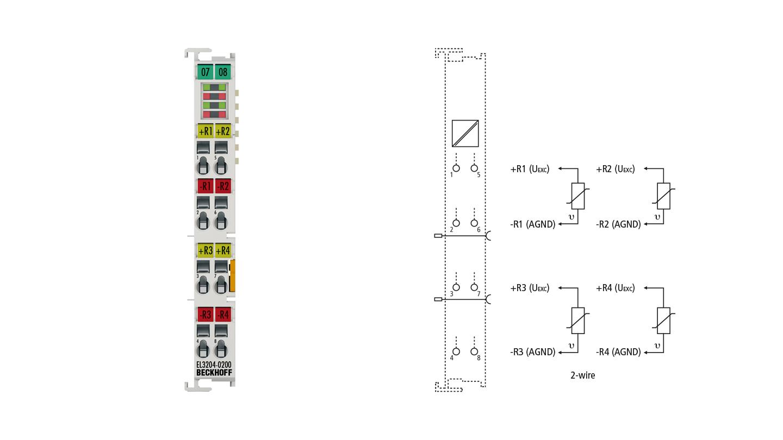 EL3204-0200 | EtherCAT Terminal, 4-channel analog input, temperature, RTD/NTC, 16bit